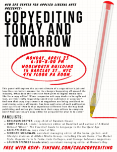 Copyediting Today and Tomorrow Panel Event: Monday, April 23rd at 6:30pm