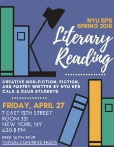 NYUSPS Literary Reading Event Next Friday
