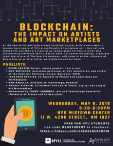 Blockchain: The Impact on Artists and Art Marketplaces Event, 5/9