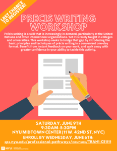 Last Chance to Register for Our Exciting Precis Writing Workshop This Saturday!