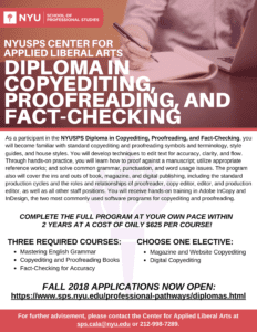 Apply for the NYUSPS Diploma in Copyediting, Proofreading, and Fact-Checking This Fall!