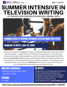Summer Intensive in Television Writing Application Deadline Extended