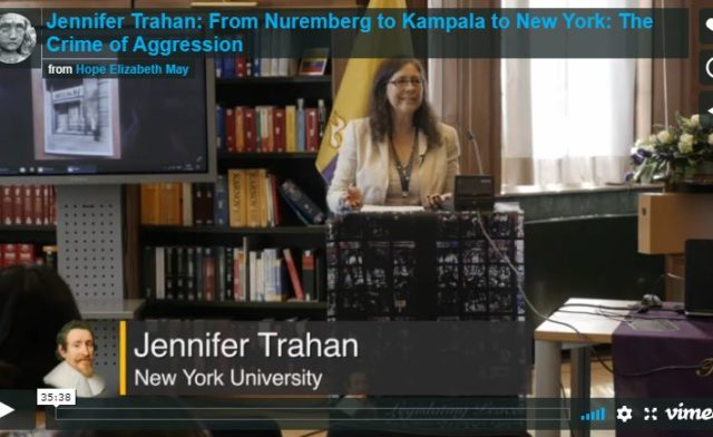 Featured Videos: CGA's Prof. Jennifer Trahan Addresses the Crime of Aggression at Peace Palace in July
