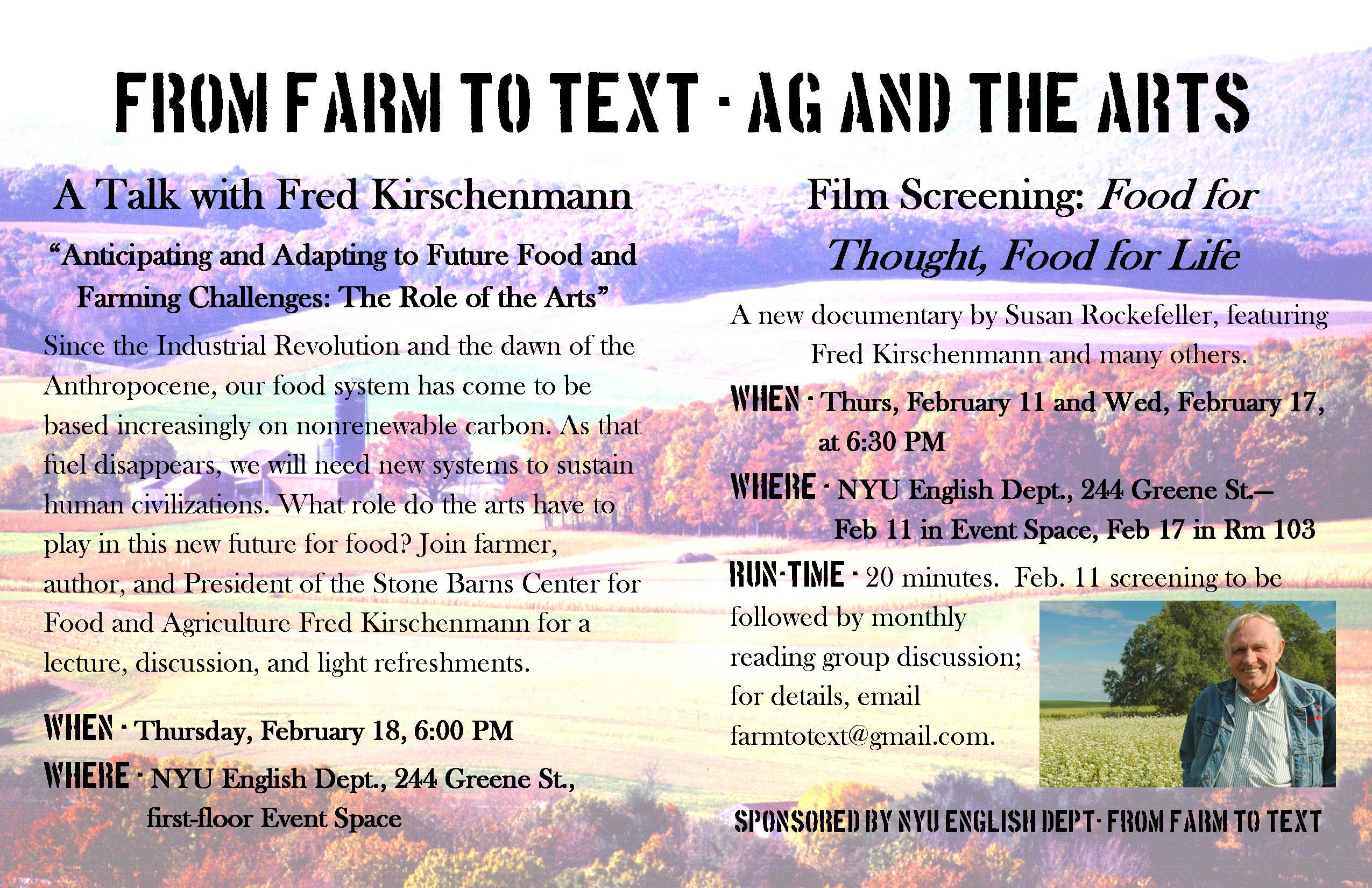 From Farm to Text - Ag and the Arts, February Events featuring Fred Kirschenmann