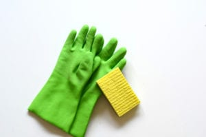 green dishwashing gloves