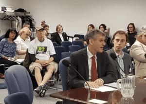 AVP Cecil Scheib speaking at public hearing