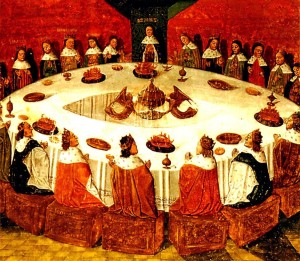 """King Arthur and his knights of the Round Table illustrating wholeness and """"holeness"""""""