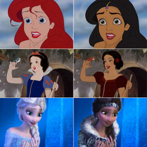 Online attempts to make Disney princesses more relatable have included changing their ethnicity.