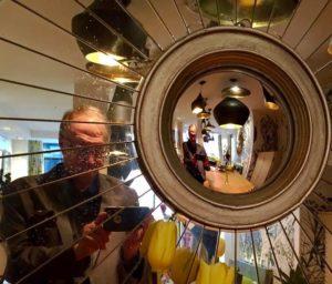 Professor Spear takes a selfie in a convex mirror