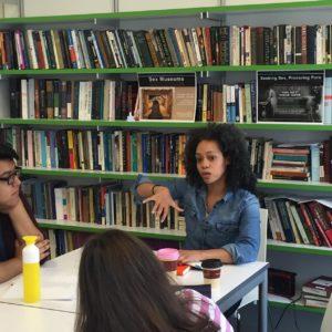 Poet Nicole Terez Dutton visiting the CLS Lab.