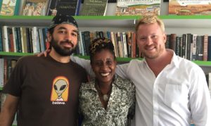 Professor Boggs, right, with poets Keith S. Wilson and Malika Booker after their visit to the CLS Lab.