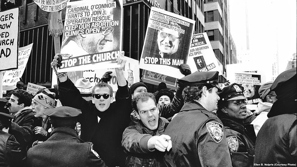 ACT UP protest at St.Patrick's Cathedral, December of 1989.