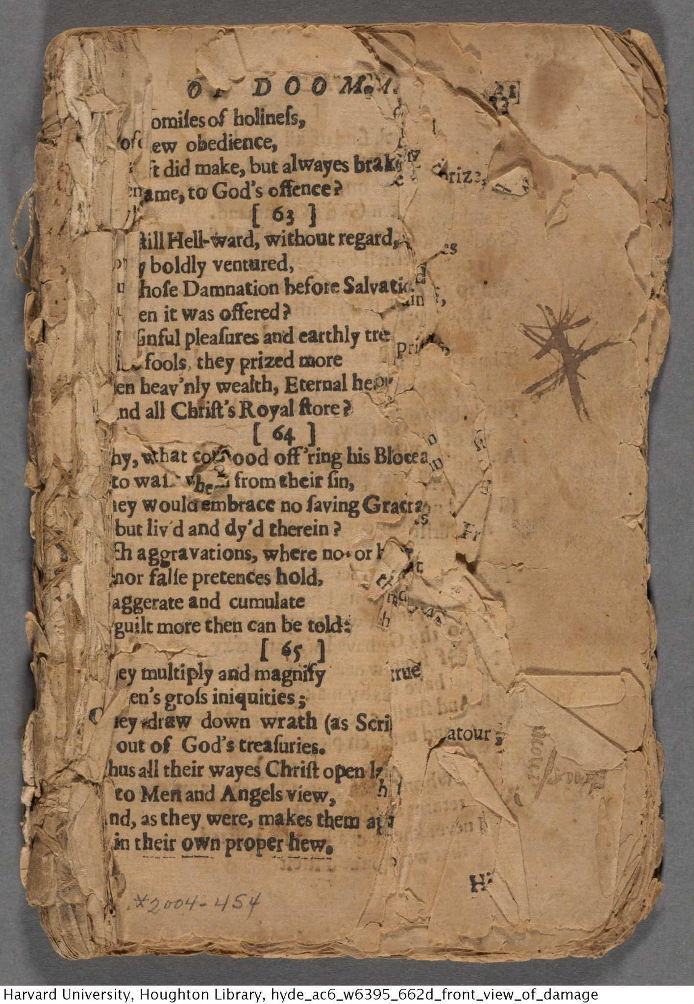 A fragmentary copy of the first edition of The Day of Doom, held at Houghton Library, Harvard University