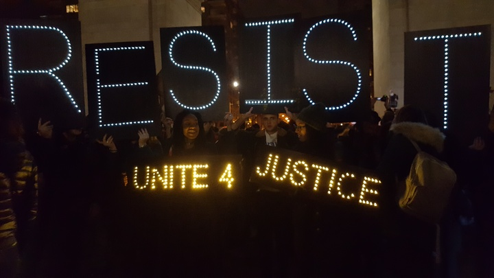 At the Emergency Rally for Muslim and Immigrant Rights at Washington Square Park in New York City on January 25, 2017 (photograph by Diamond Naga Siu for the Washington Square News)