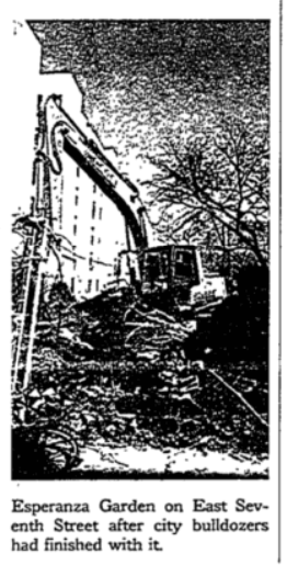 Black and white image taken from the NYT showing a bulldozer tearing through a community garden