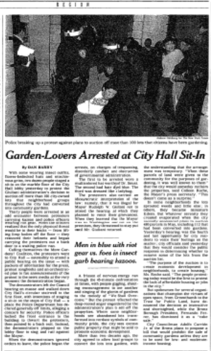A black and white image taken from the NYT showing a More Gardens protestor being arrested and removed from City Hall.