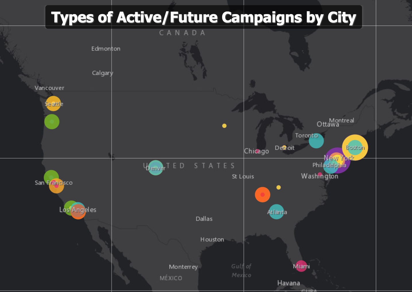 Themes of Active/Future campaigns being run by HFA member groups based on their city/information collected in HFA member census. Coral is Building-Based Justice, teal is Community Control, yellow is Renters' Rights, pink is Development Without Displacement, Orange is Discrimination in Housing, green is Just Cause Eviction, blue is Rent Control, tangerine is Right to Counsel, and purple is Tenant Unions. Important to note that approximately 40 groups out of HFA's 100+ member group network filled out the member census.