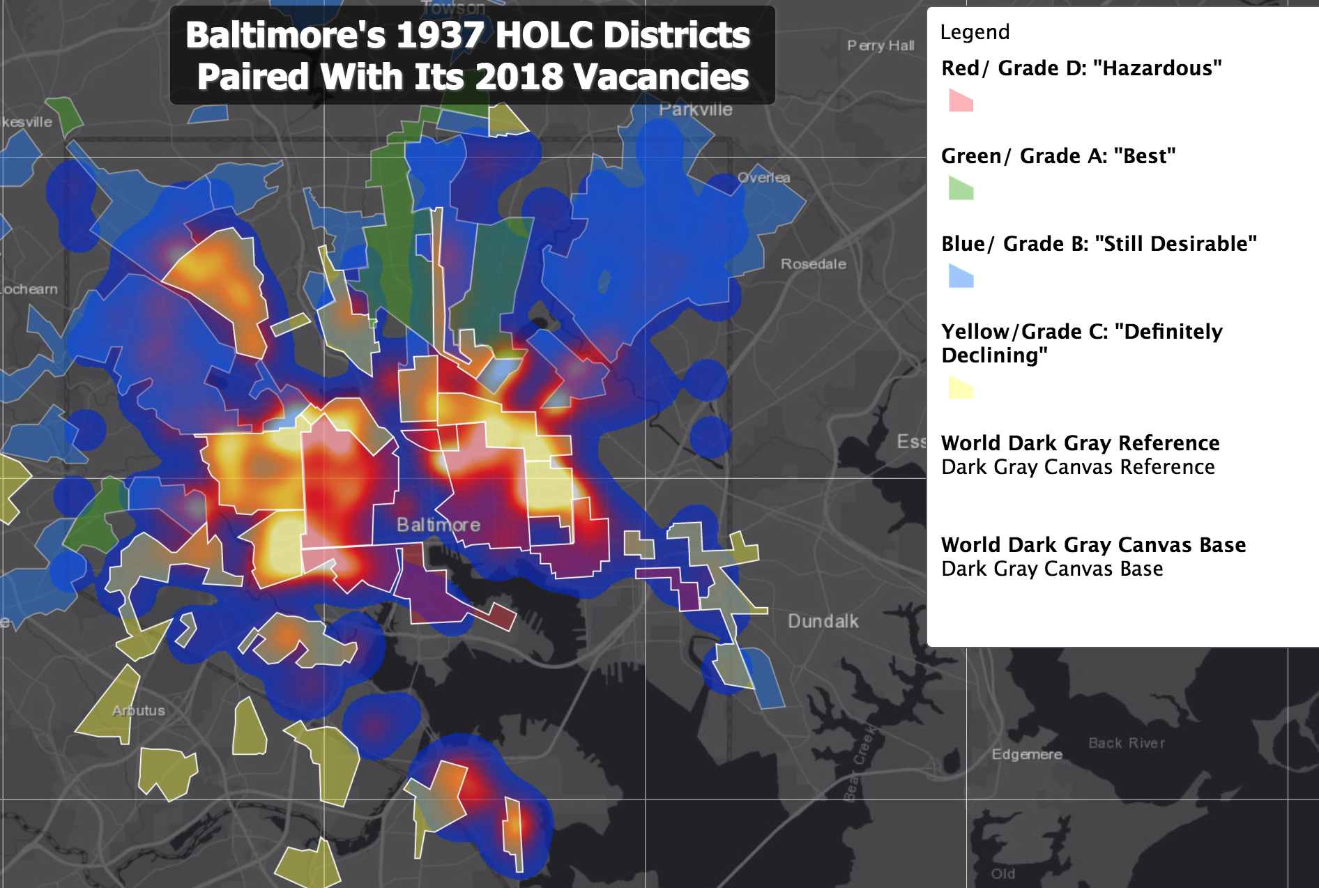 Polygons representing the HOLC's 1937 Baltimore Housing Security (redlining) map placed over the 2018 vacancy heatmap