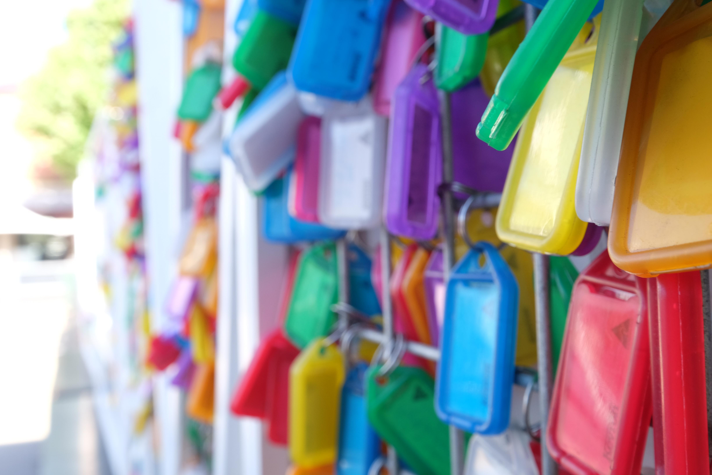 multicolored key tags