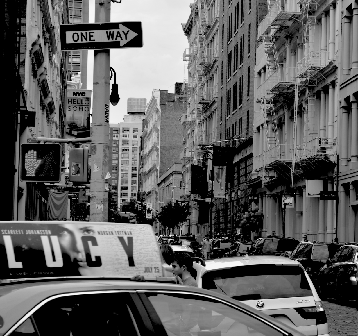 street in soho black and white