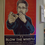 "Poster will Edward Snowden blowing a whistle and text ""I wan YOU to blow the whistle"""