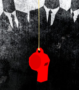 Illustration of red whistle dangling in front of black-and-white men in suites